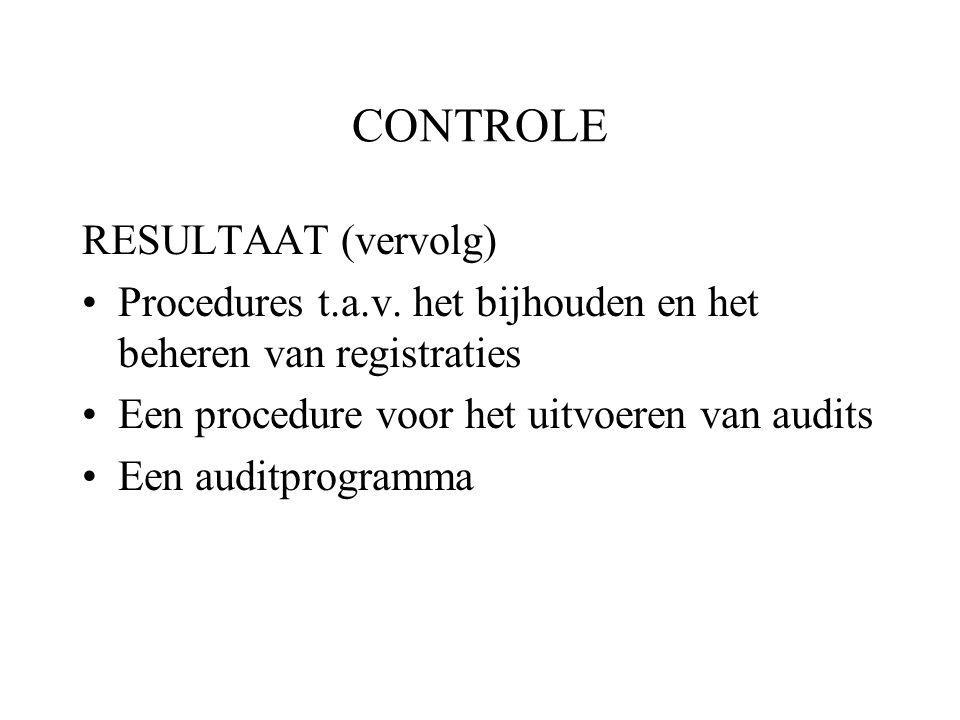 CONTROLE RESULTAAT (vervolg)