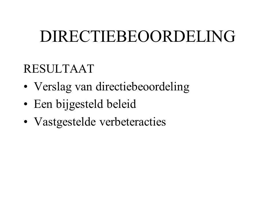 DIRECTIEBEOORDELING RESULTAAT Verslag van directiebeoordeling