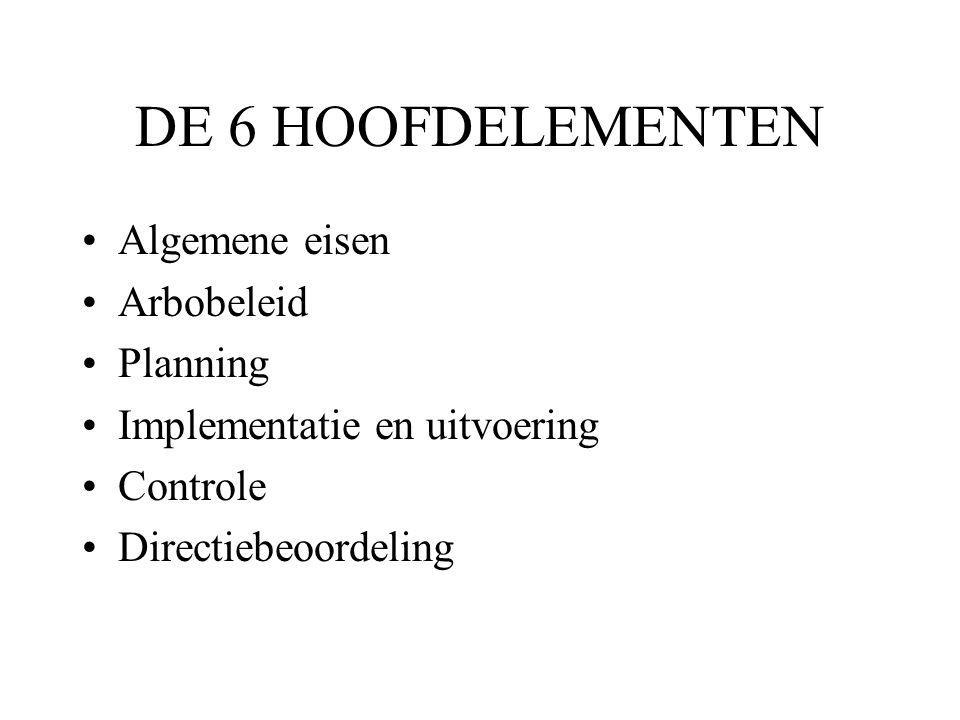 DE 6 HOOFDELEMENTEN Algemene eisen Arbobeleid Planning