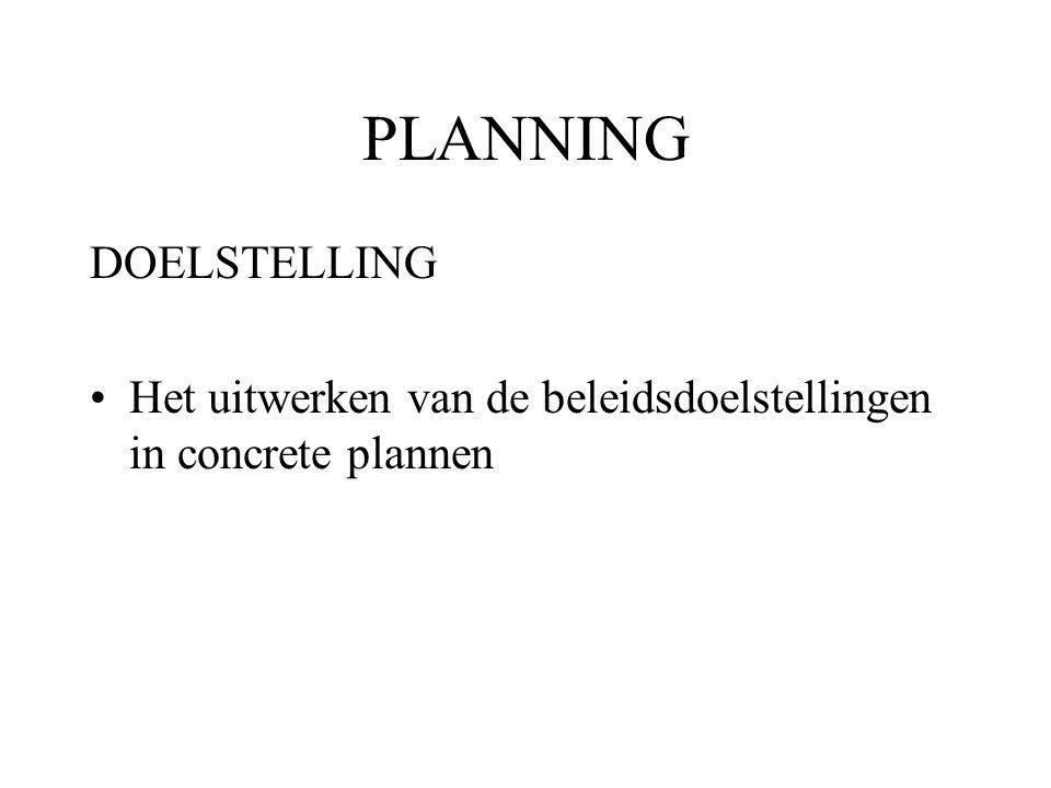 PLANNING DOELSTELLING