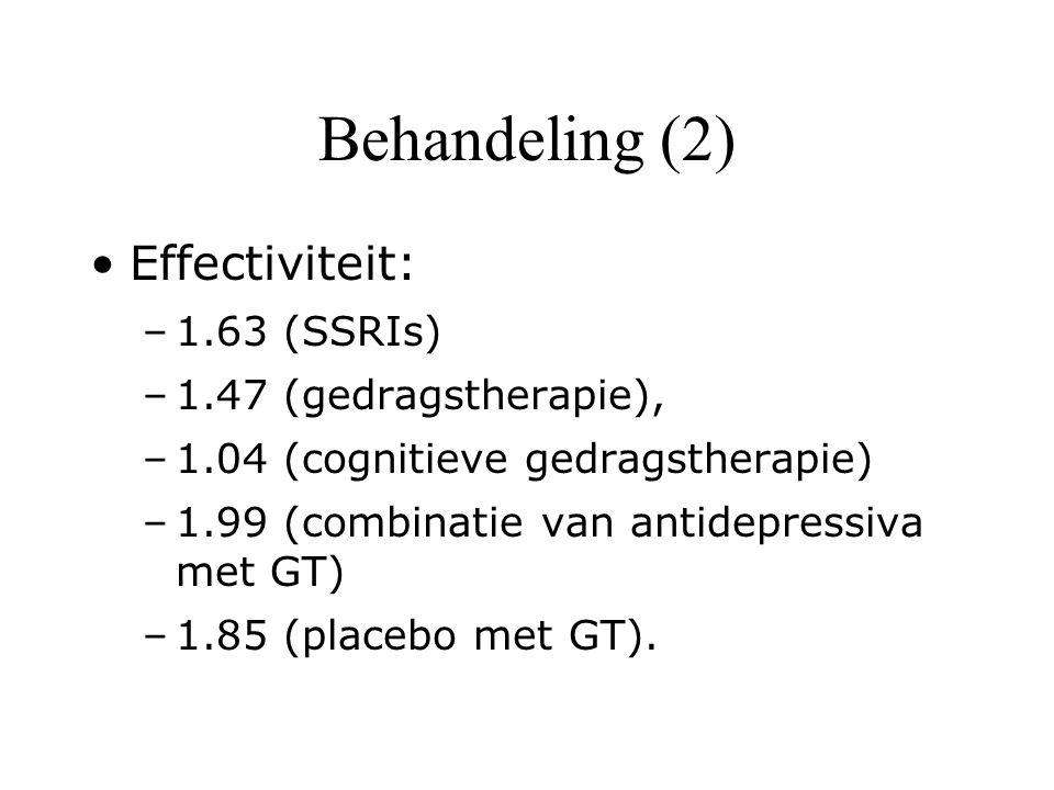 Behandeling (2) Effectiviteit: 1.63 (SSRIs) 1.47 (gedragstherapie),