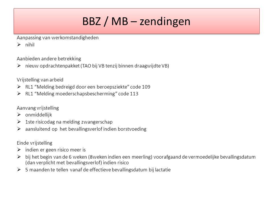 BBZ / MB – zendingen Aanpassing van werkomstandigheden nihil
