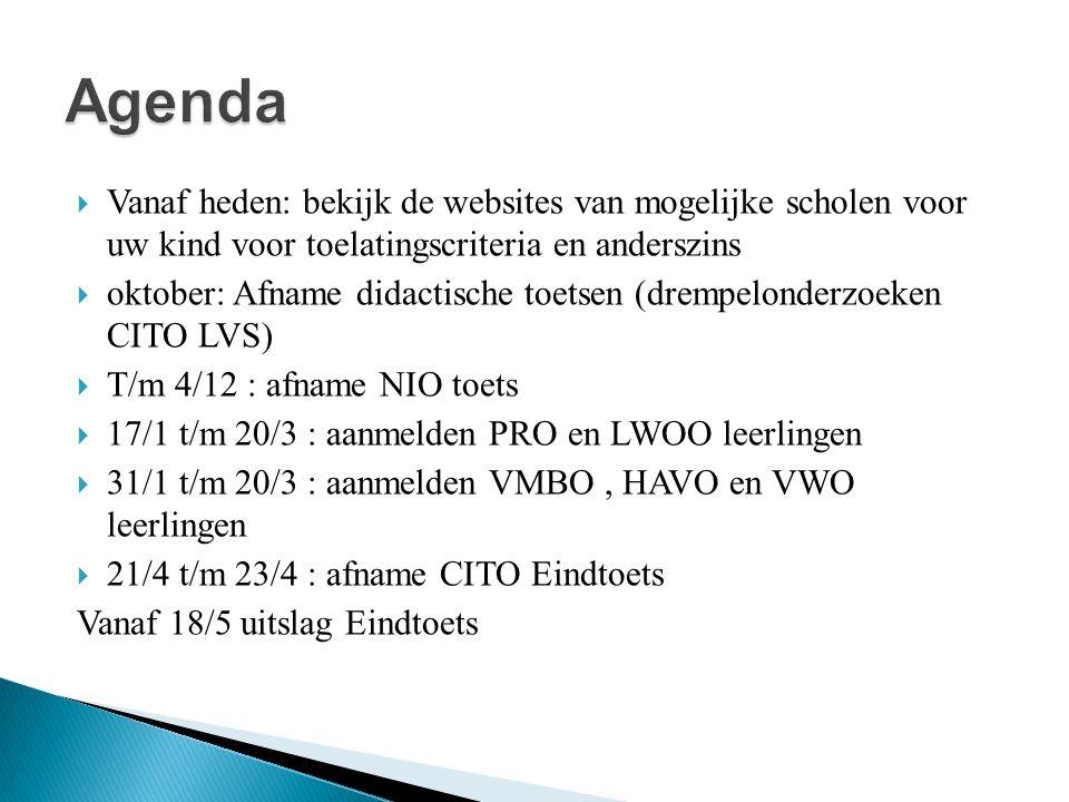 Agenda Vanaf heden: bekijk de websites van mogelijke scholen voor uw kind voor toelatingscriteria en anderszins.