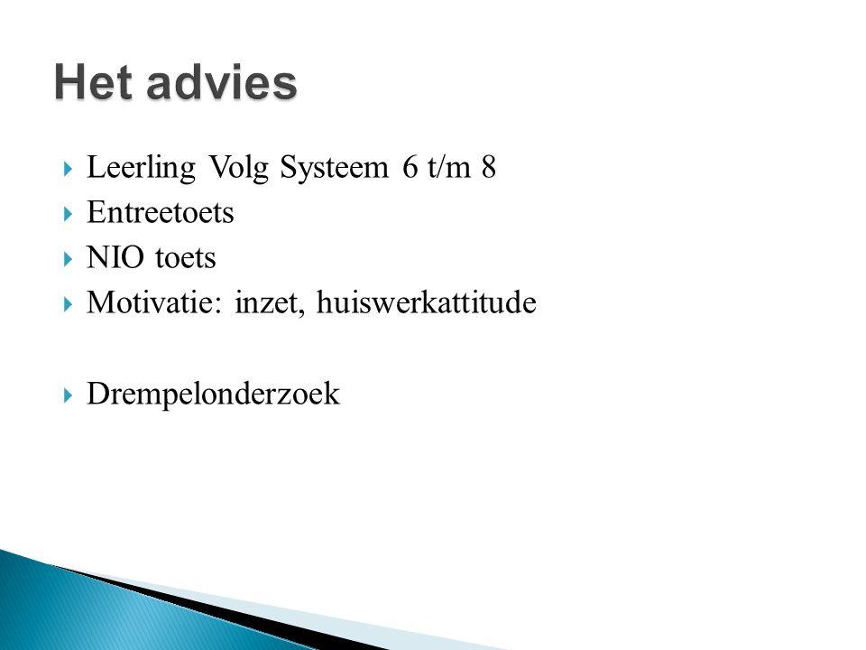 Het advies Leerling Volg Systeem 6 t/m 8 Entreetoets NIO toets