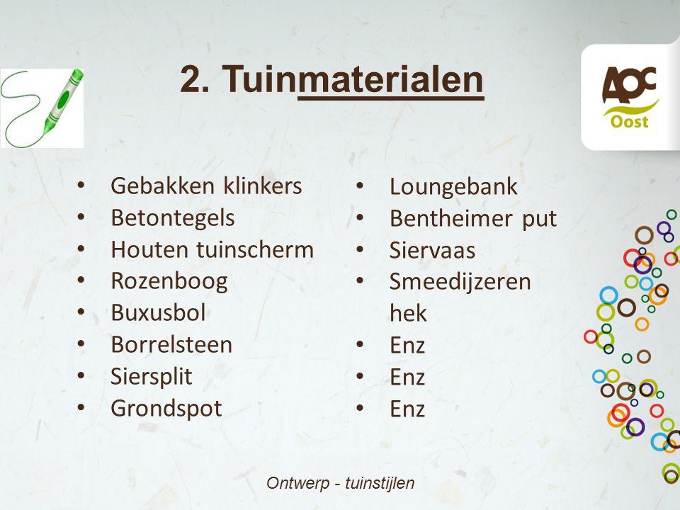 2. Tuinmaterialen Gebakken klinkers Loungebank Betontegels
