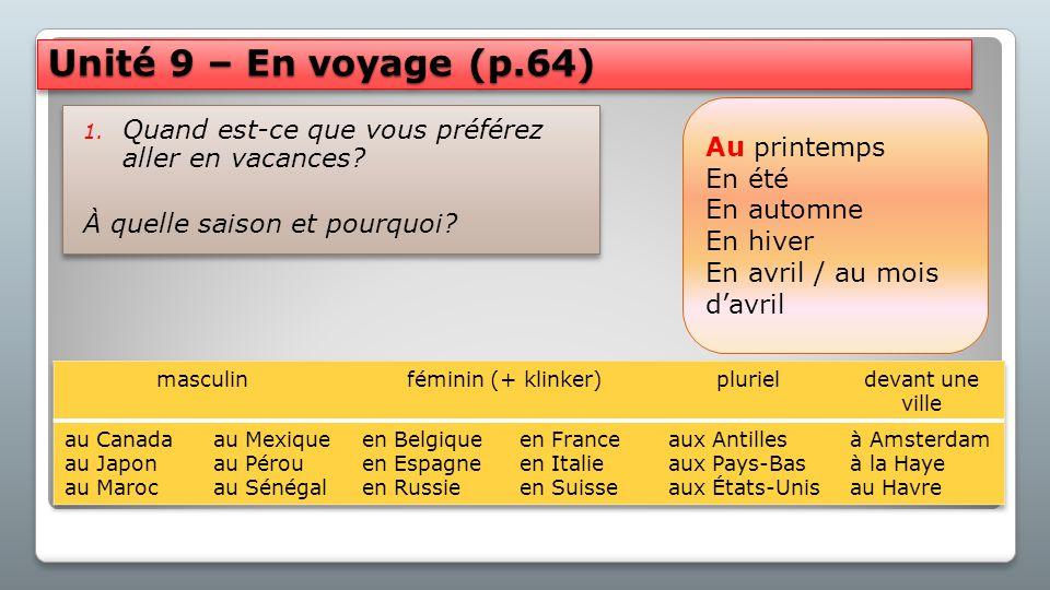 Unité 9 – En voyage (p.64) Au printemps. En été. En automne. En hiver. En avril / au mois d'avril.