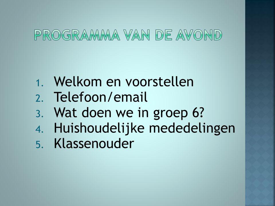Programma van de avond Welkom en voorstellen Telefoon/email