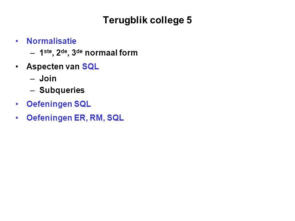 Terugblik college 5 Normalisatie 1ste, 2de, 3de normaal form