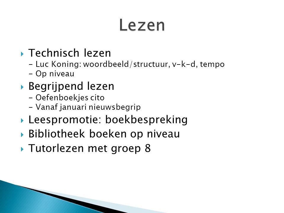 Lezen Technisch lezen - Luc Koning: woordbeeld/structuur, v-k-d, tempo - Op niveau.