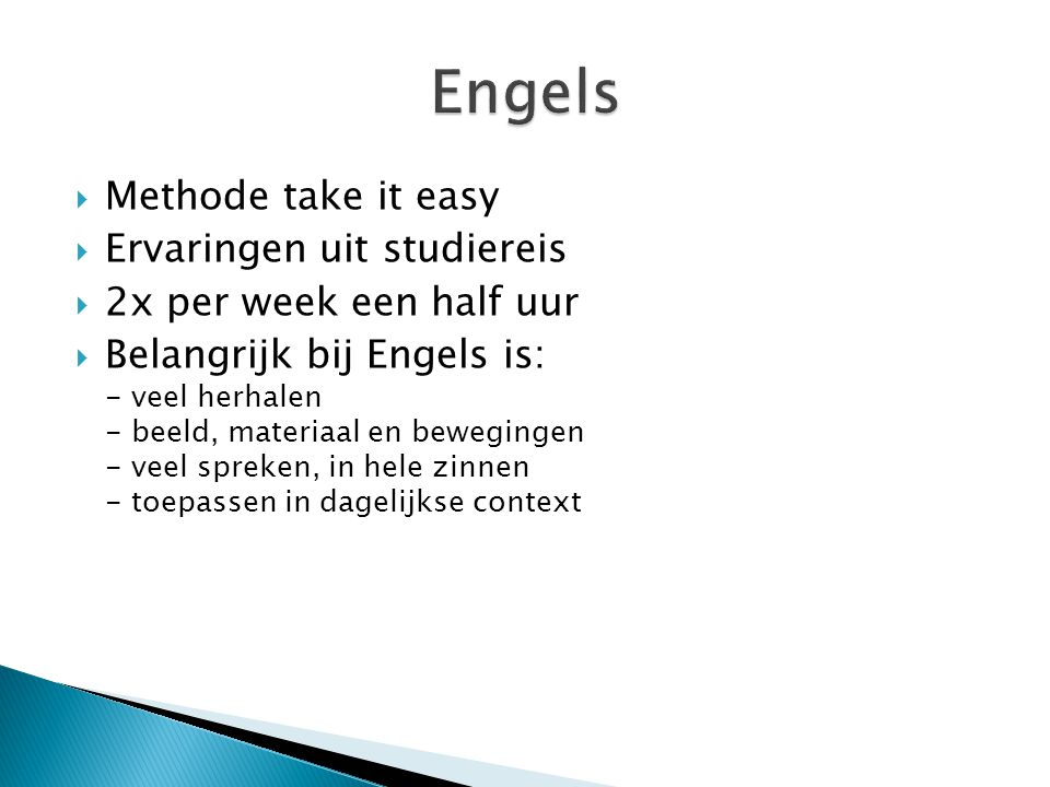 Engels Methode take it easy Ervaringen uit studiereis