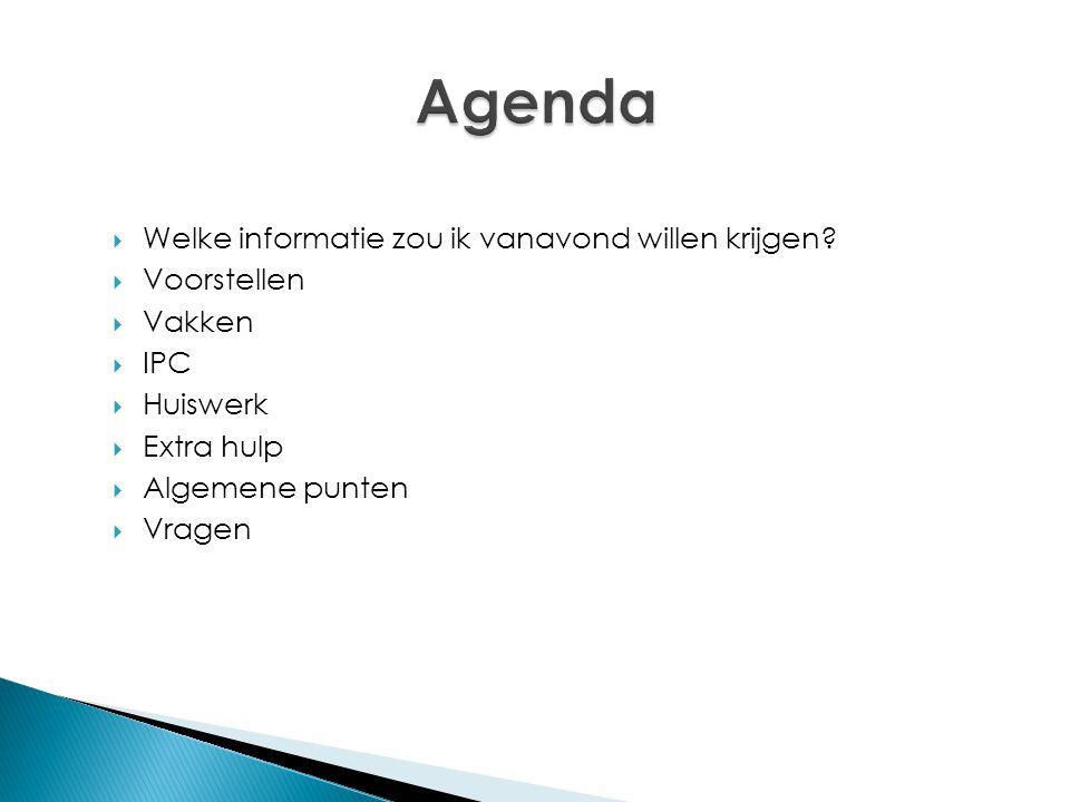 Agenda Welke informatie zou ik vanavond willen krijgen Voorstellen