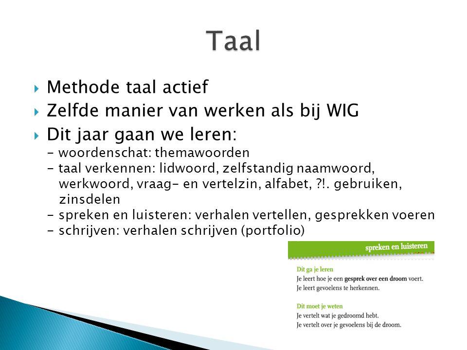 Taal Methode taal actief Zelfde manier van werken als bij WIG