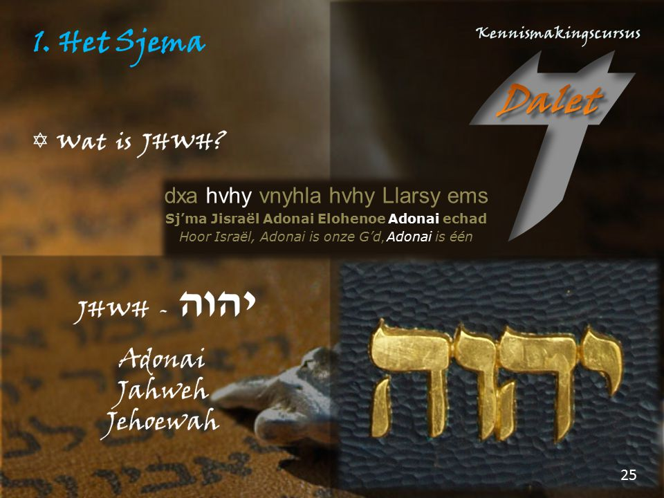 Sj'ma Jisraël Adonai Elohenoe Adonai echad