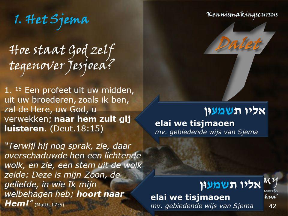 1. 15 Een profeet uit uw midden, uit uw broederen, zoals ik ben, zal de Here, uw God, u verwekken; naar hem zult gij luisteren. (Deut.18:15)