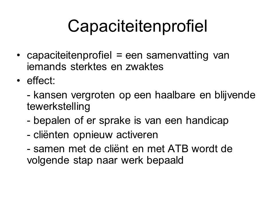 Capaciteitenprofiel capaciteitenprofiel = een samenvatting van iemands sterktes en zwaktes. effect: