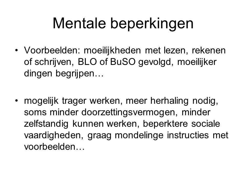 Mentale beperkingen Voorbeelden: moeilijkheden met lezen, rekenen of schrijven, BLO of BuSO gevolgd, moeilijker dingen begrijpen…