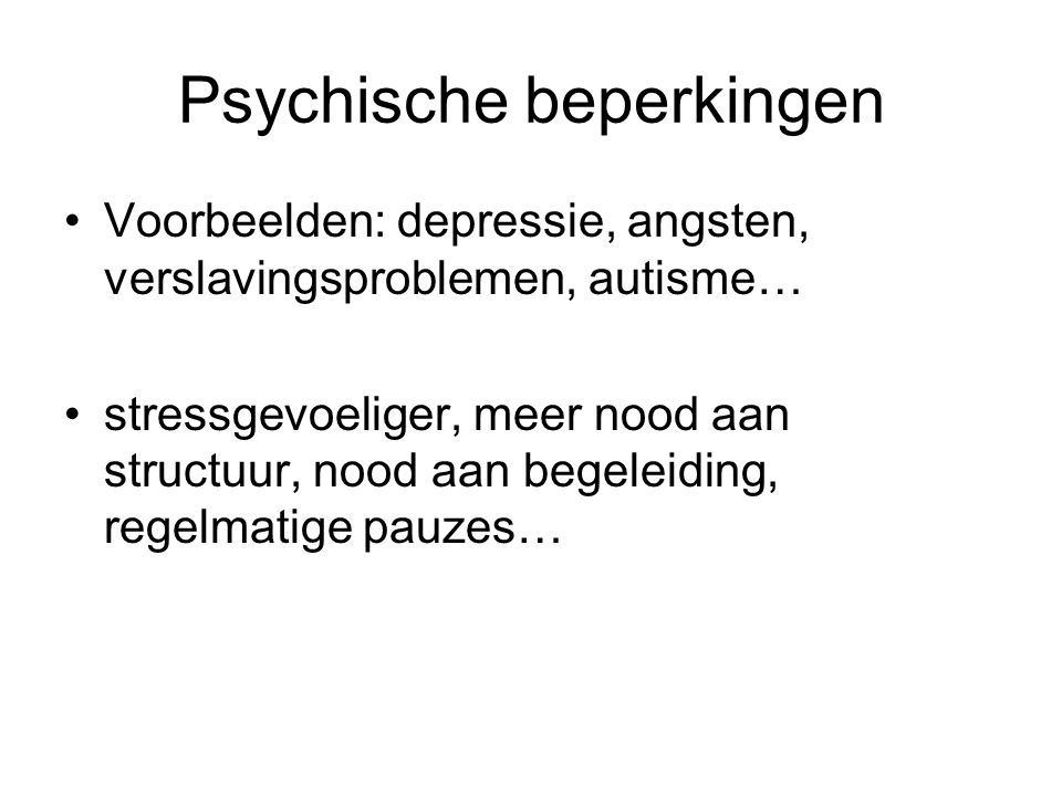 Psychische beperkingen