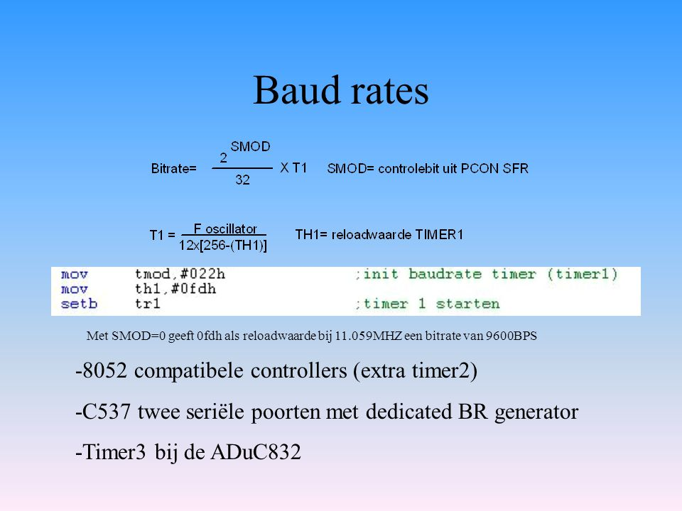 Baud rates -8052 compatibele controllers (extra timer2)