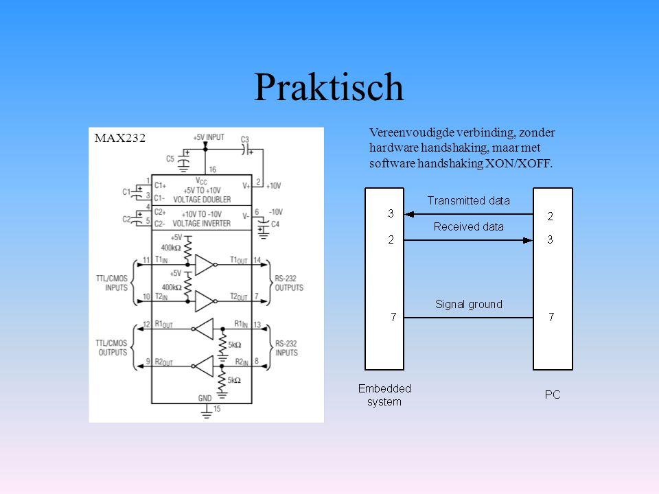 Praktisch Vereenvoudigde verbinding, zonder hardware handshaking, maar met software handshaking XON/XOFF.
