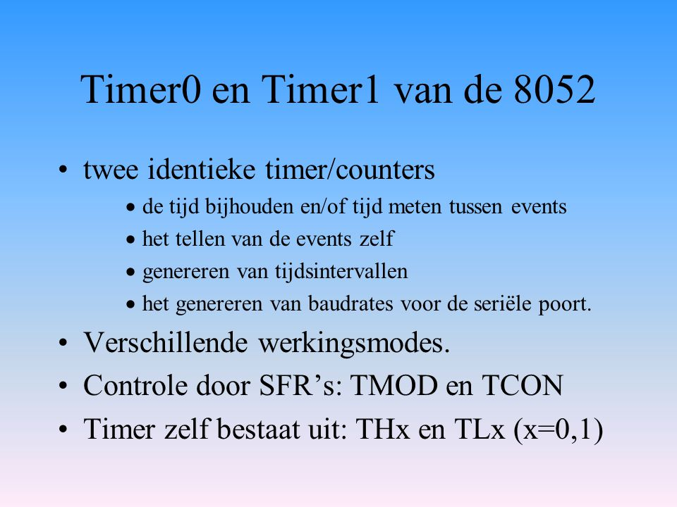 Timer0 en Timer1 van de 8052 twee identieke timer/counters