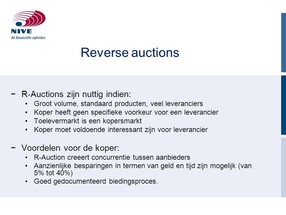 Reverse auctions R-Auctions zijn nuttig indien: