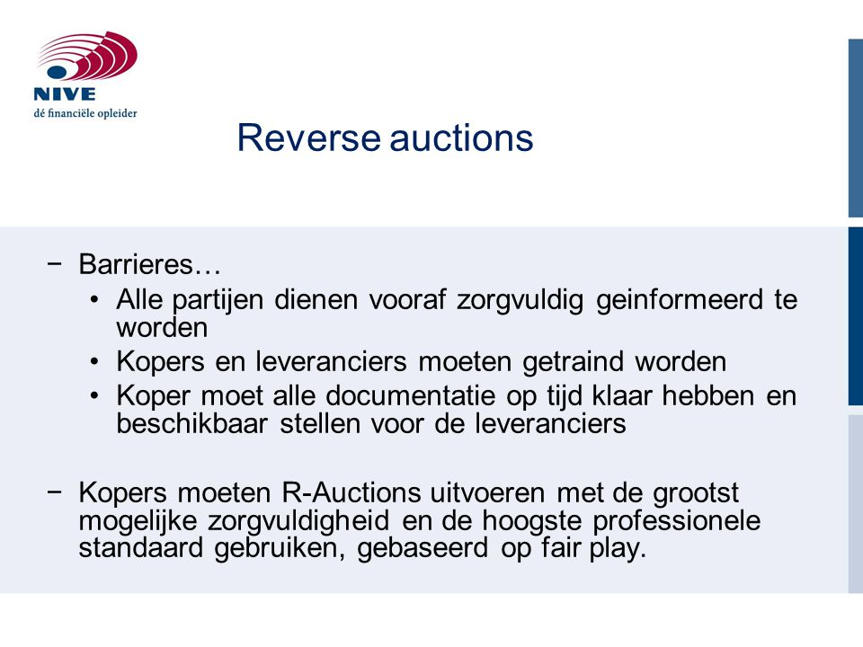 Reverse auctions Barrieres…