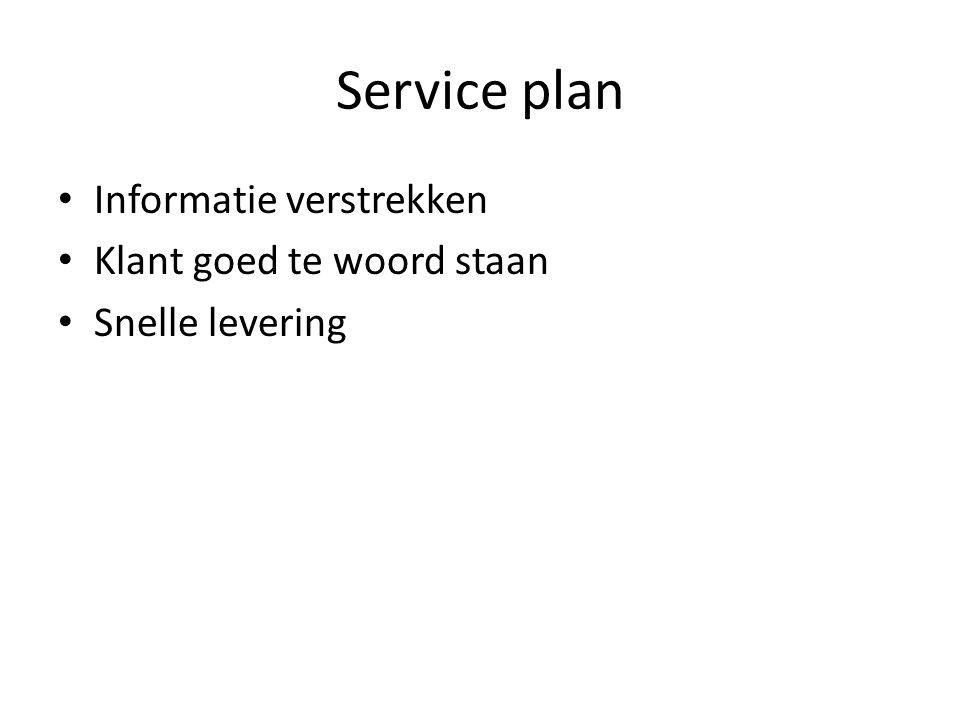 Service plan Informatie verstrekken Klant goed te woord staan
