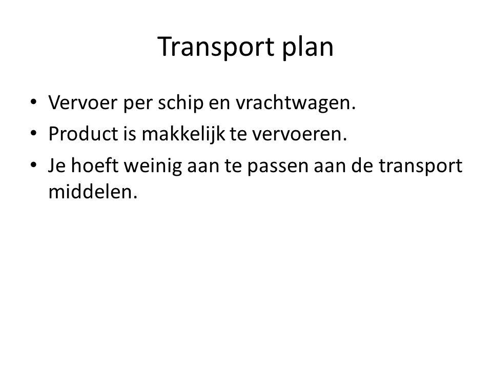 Transport plan Vervoer per schip en vrachtwagen.