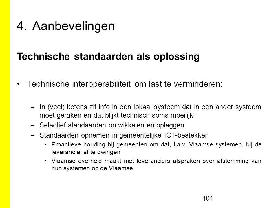 Aanbevelingen Technische standaarden als oplossing