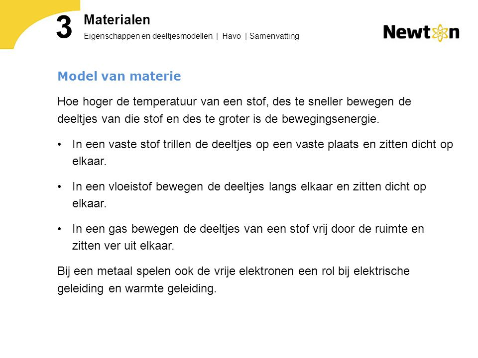 3 Materialen Model van materie