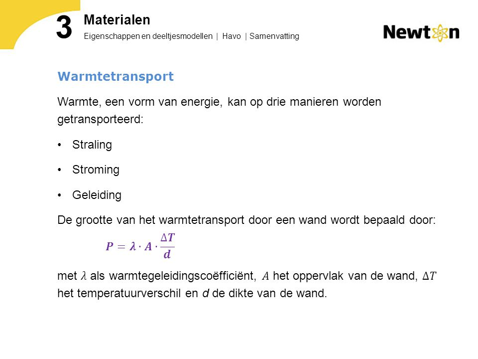 3 Materialen Warmtetransport