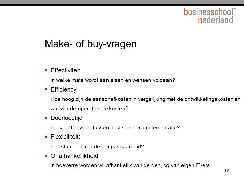 Make- of buy-vragen Effectiviteit