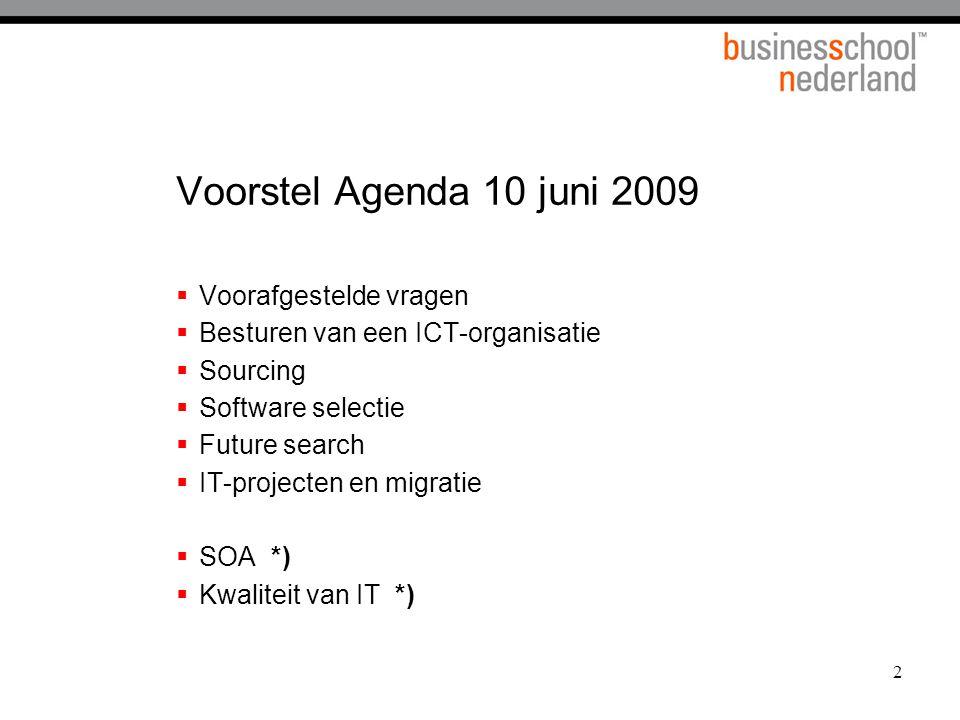 Voorstel Agenda 10 juni 2009 Voorafgestelde vragen