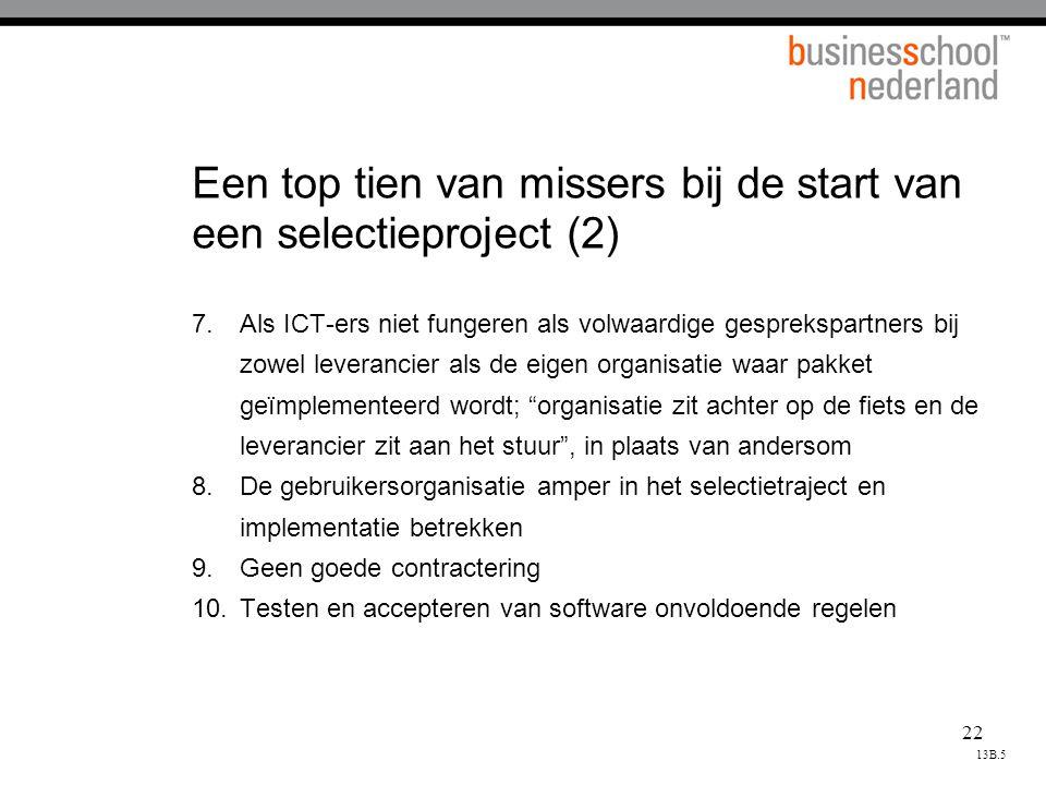 Een top tien van missers bij de start van een selectieproject (2)