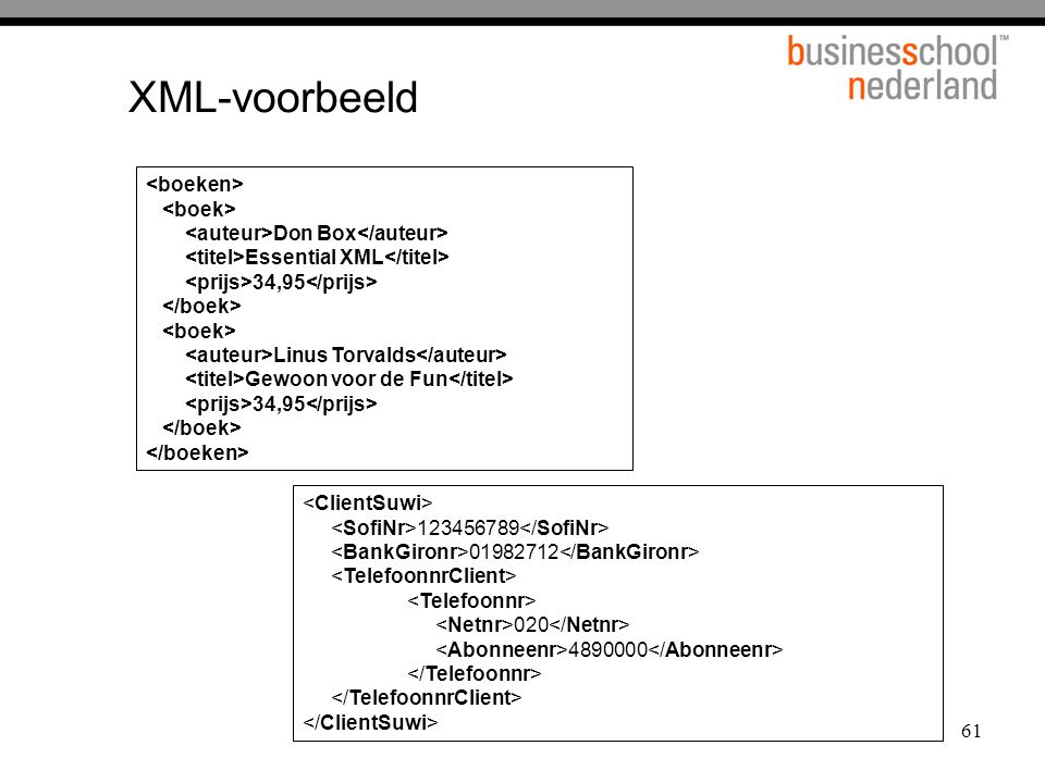 XML-voorbeeld <boeken> <boek>