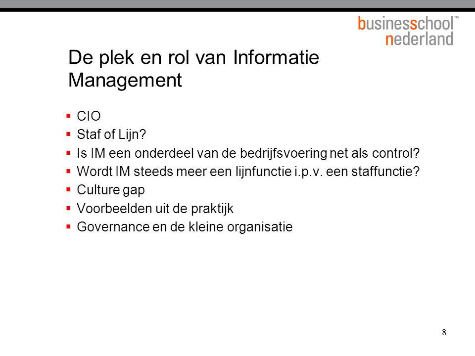De plek en rol van Informatie Management
