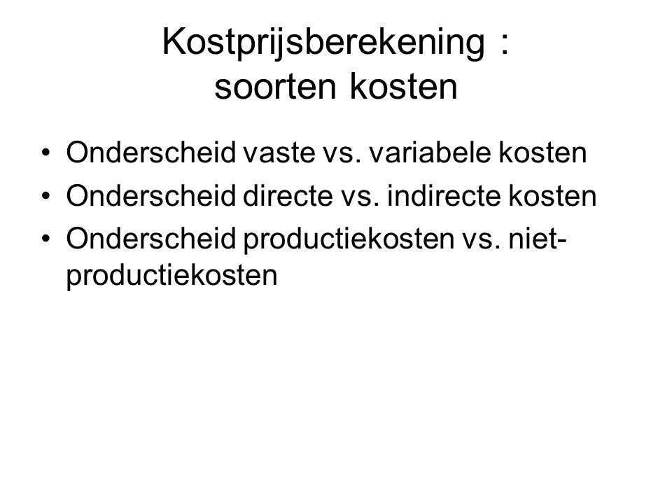 Kostprijsberekening : soorten kosten