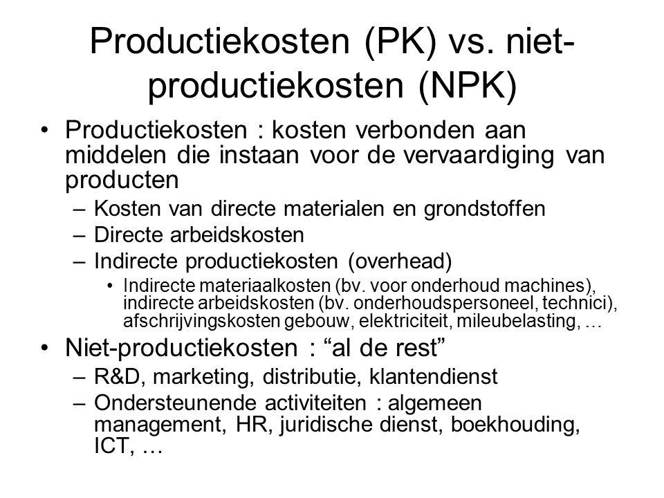 Productiekosten (PK) vs. niet-productiekosten (NPK)
