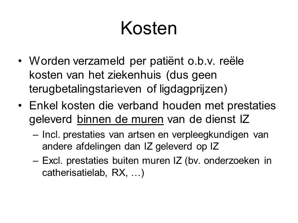 Kosten Worden verzameld per patiënt o.b.v. reële kosten van het ziekenhuis (dus geen terugbetalingstarieven of ligdagprijzen)
