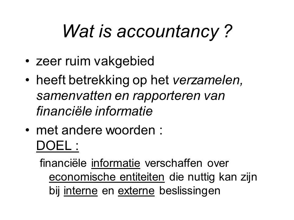 Wat is accountancy zeer ruim vakgebied