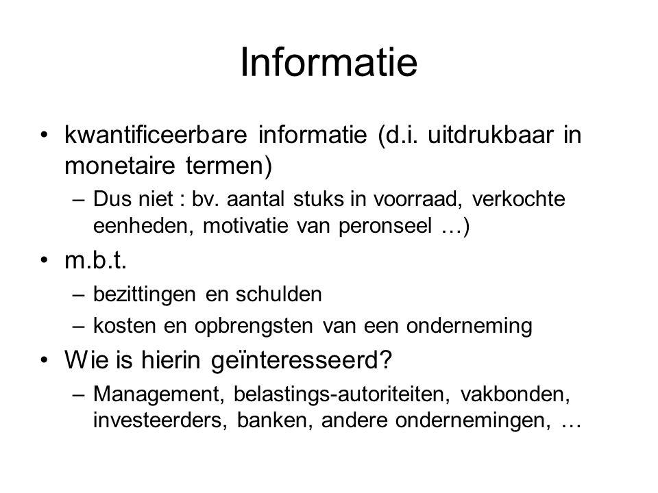 Informatie kwantificeerbare informatie (d.i. uitdrukbaar in monetaire termen)