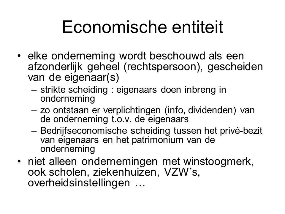 Economische entiteit elke onderneming wordt beschouwd als een afzonderlijk geheel (rechtspersoon), gescheiden van de eigenaar(s)