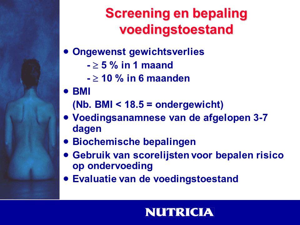 Screening en bepaling voedingstoestand