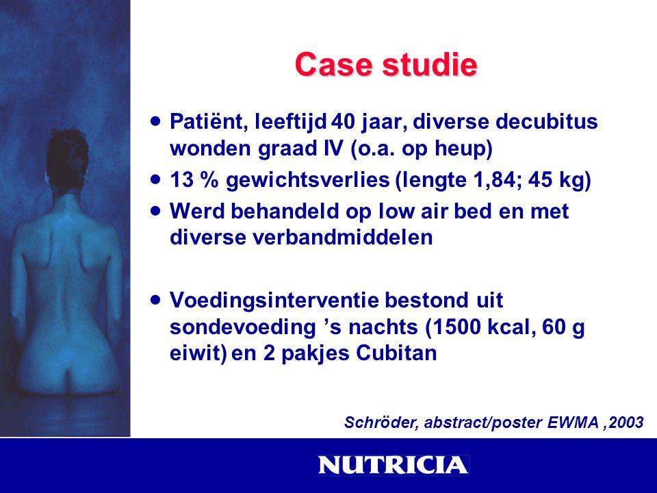 Case studie Patiënt, leeftijd 40 jaar, diverse decubitus wonden graad IV (o.a. op heup) 13 % gewichtsverlies (lengte 1,84; 45 kg)
