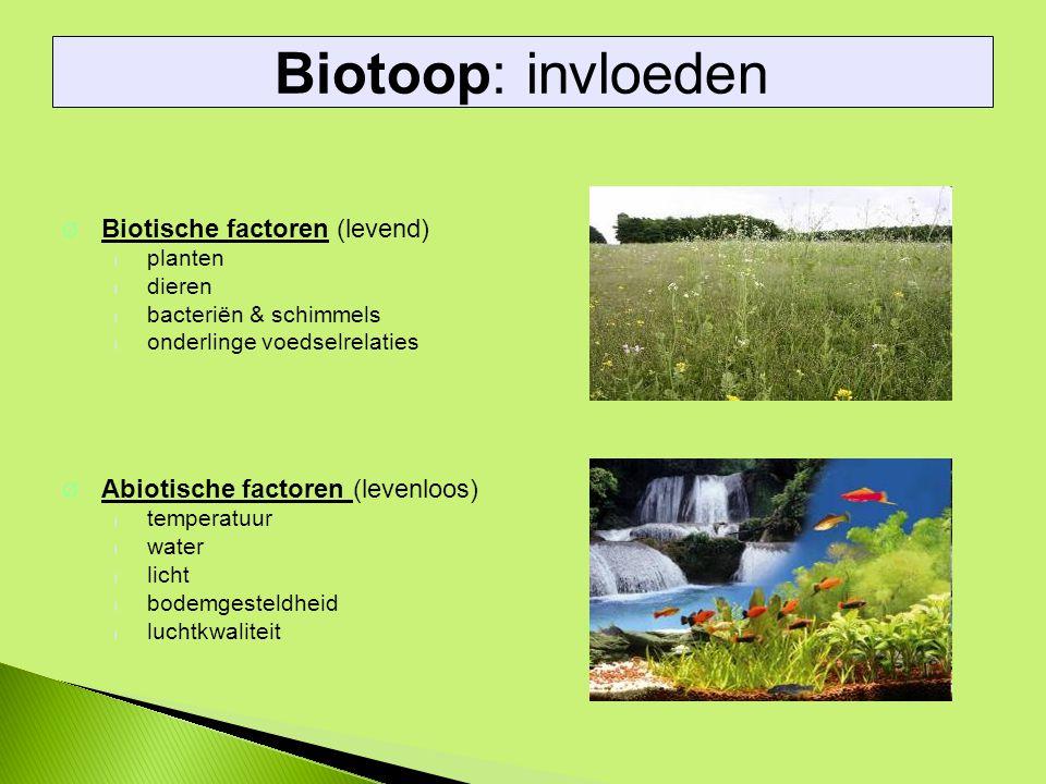 Biotoop: invloeden Biotische factoren (levend)