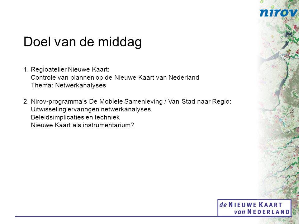 Doel van de middag 1. Regioatelier Nieuwe Kaart: