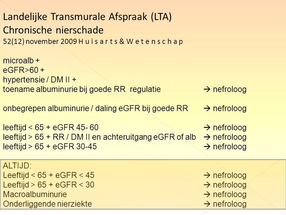 Landelijke Transmurale Afspraak (LTA) Chronische nierschade