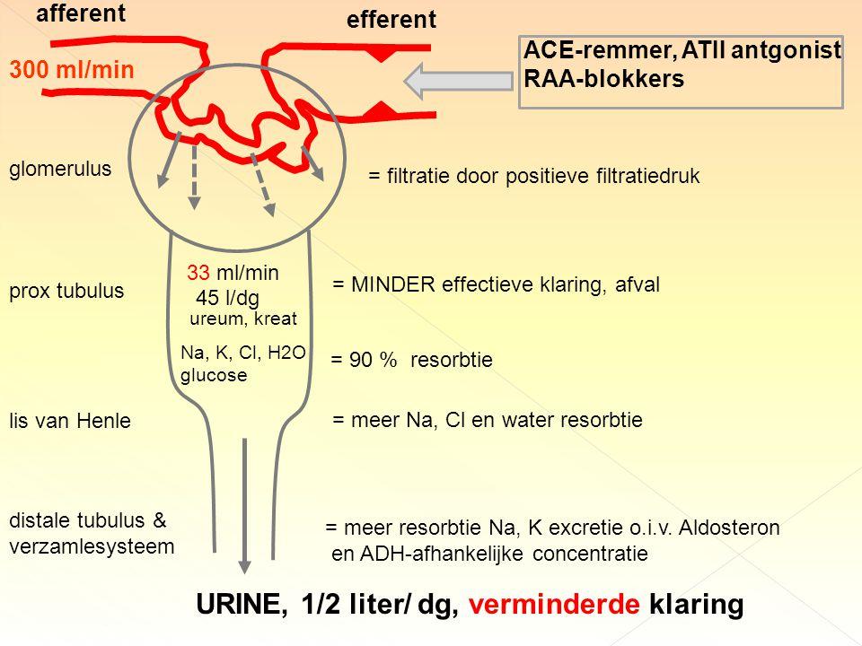 URINE, 1/2 liter/ dg, verminderde klaring