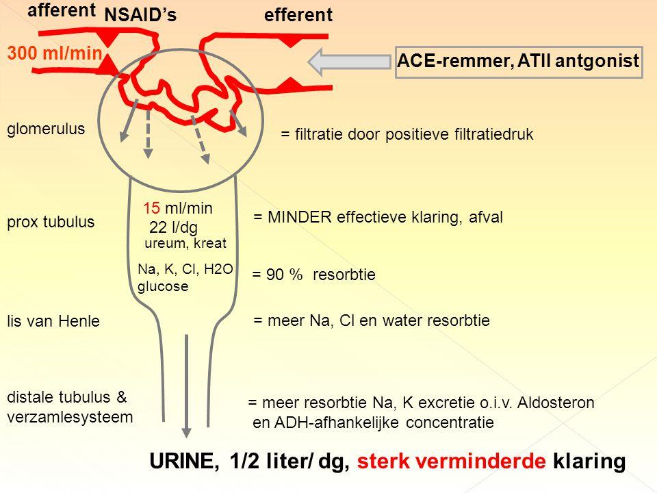 URINE, 1/2 liter/ dg, sterk verminderde klaring