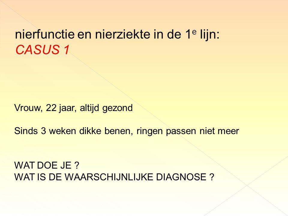 nierfunctie en nierziekte in de 1e lijn: CASUS 1